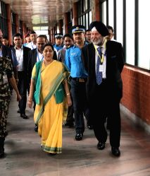 External Affairs Minister Sushma Swaraj arrives in Kathmandu on her 6th visit to Nepal for the BIMSTEC Foreign Minister's meeting on Aug 10, 2017.