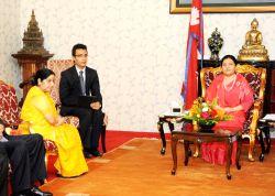 External Affairs Minister Sushma Swaraj calls on Nepal President Bidya Devi Bhandari in Kathmandu on Aug 10, 2017.