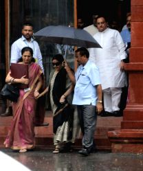 External Affairs Minister Sushma Swaraj comes out after cabinet meeting in New Delhi, on Aug 24, 2016.