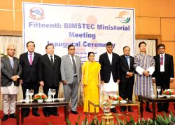 External Affairs Minister Sushma Swaraj during the inaugural session of 15th BIMSTEC Ministerial Meeting in Kathmandu on Aug 10, 2017. Also seen Nepal Prime Minister Sher Bahadur Deuba.