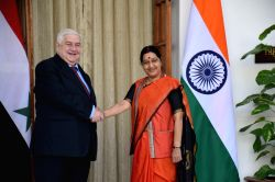 External Affairs Minister Sushma Swaraj during a meeting with the Minister of Foreign Affairs of the Syrian Arab Republic, H.E. Walid Al Moualem in New Delhi on Jan 12, 2016.