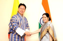 External Affairs Minister Sushma Swaraj holds bilateral meeting with Bhutan's Foreign Minister Damcho Dorji on the sidelines of 15th BIMSTEC Ministerial Meeting in Kathmandu on Aug 10, ...