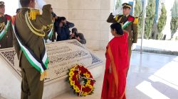 External Affairs Minister Sushma Swaraj lays wreath at Mausoleum of Late Palestinian leader Yasser Arafat at Ramallah, Palestine on Jan 17, 2016.
