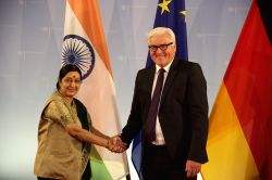 External Affairs Minister Sushma Swaraj meets Germany Foreign Minister Frank-Walter Steinmeier in Berlin on Aug 26, 2015.