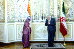 External Affairs Minister Sushma Swaraj meets Foreign Minister of Iran  Mohammad Javad Zarif during her visit to Iran on April 17, 2016.
