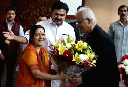 External Affairs Minister Sushma Swaraj meets Father Tom Uzhunnalil who was recently rescued from captivity in Yemen, in New Delhi on Sept 28, 2017.