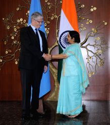 External Affairs Minister Sushma Swaraj with President-elect of the UN General Assembly Mogens Lykketoft during a meeting in New Delhi on Aug 30, 2015.