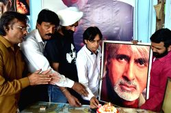 Fans of actor Amitabh Bachchan celebrate his birthday in Bikaner on Oct 11, 2017.