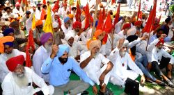 Farmers stage a demonstration against Punjab Government outside the Deputy Commissioner Office in Amritsar on June 12, 2017.