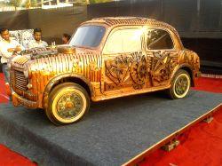 Fiat car transformed into a copper sculpture - by artist Yusuf Arakkal (Photo Credit: Mauli Buch)
