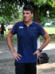 FIFA Head of Refereeing Massimo Busacca during a training session at Sai Ground in Kolkata on Oct 23, 2017.