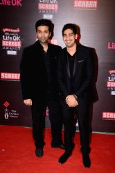 Filmmaker  Karan Johar & Ayan Mukherjee during the 20th Annual Life OK Screen Awards in Mumbai, on January 14, 2014.