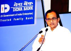 Finance Minister, Mr P.Chidambaram addressing at Platinum Jubilee Celebration function of Dena Bank in Mumbai on Saturday 25 May 2013.
