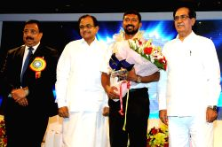Finance Minister, P.Chidambaram felicitated Shri Lt. Commander Abhilash Tomy (the first Indian to circumnavigate the globe solo non-stop in 150 days);; at Platinum Jubilee Celebration function of Dena Bank in Mumbai on Saturday 25 May 2013.