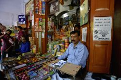 Firecrackers being sold at a Jama Masjid market in Delhi on Oct 9, 2017. The Supreme Court on 9th October ruled that there will be no sale of firecrackers during Diwali, as it restored a ...