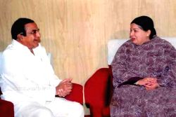 Former Chief Minister and TDP Founder NT Rama Rao with AIADMK supremo and Tamil Nadu Chief Minister J Jayalalithaa. (File Photo: IANS)
