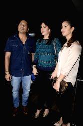 Former cricketer Sachin Tendulkar along with his wife Anjali Tendulkar and daughter Sara Tendulkar during the special screening of film