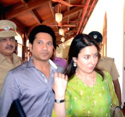 Former cricketer Sachin Tendulkar along with his wife Anjali Tendulkar arrive at the launch of Mission 24 - a project supported by NGO Apnalaya and Municipal Corporation of Greater ...