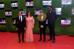 Former Indian cricket Sachin Tendulkar along with his wife Anjali Tendulkar, brother Ajit Tendulkar and filmmaker Ravi Bhagchandra during the premiere of film Sachin: A Billion Dreams in ...