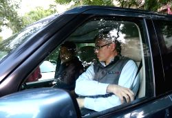 Former Jammu and Kashmir Chief Minister Omar Abdullah along with other opposition leaders from the state arrive at CPI-M office to meet party General Secretary Sitaram Yechury in New ...