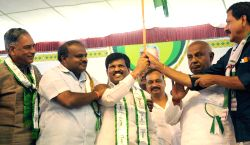 Former Prime Minister and JD-S chief HD Deve Gowda with JD-S leader H D Kumaraswamy, JD-S Karnataka chief A Krishnappa and others during a public meeting at Maharajas College Grounds in Mysore on Feb.9, 2014.