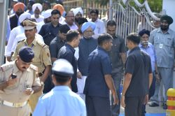 Former Prime Minister Manmohan Singh during the state funeral of Marshal of the Indian Air Force (IAF) Arjan Singh at Brar Square in New Delhi on Sept 18, 2017.