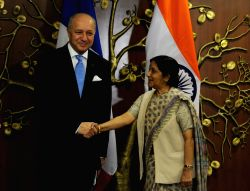 France Foreign Minister Laurent Fabius calls on the Union Minister for External Affairs and Overseas Indian Affairs Sushma Swaraj in New Delhi on Nov 20, 2015.