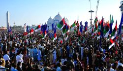 GARHI KHUDA BAKHSH, Dec. 27, 2014 (Xinhua) -- Supporters of Pakistan Peoples Party (PPP) gather outside the Bhutto family mausoleum commemorating the seventh anniversary of former premier Benazir ...
