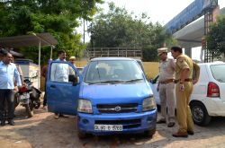 Ghaziabad: Delhi Chief Minister Arvind Kejriwal's car found abandoned by the Uttar Pradesh police in Ghaziabad on Oct 14, 2017. The blue-coloured WagonR was reported stolen from Delhi ...