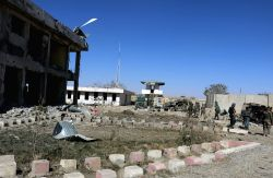 GHAZNI, Oct. 18, 2017 - Afghan security force members inspect the site of Taliban attack in Andar district of Ghazni province, Afghanistan, Oct. 17, 2017. At least 15 Afghan security forces were ...