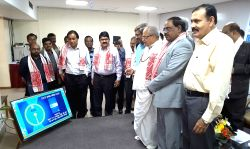 Guwahati: BSNL Assam Circle CGM MK Seth and State Bank of India Northeast Zone CGM PVSLN Murty and S Govil BSNL GM Kamrup during BSNL and SBI jointly launch the new SBI Mobicash app e ...