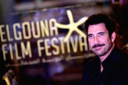 HURGHADA, Sept. 24, 2017 - Actor Dylan McDermott receives an interview during the El Gouna Film Festival in Hurghada, Egypt on Sept. 23, 2017. The first El Gouna Film Festival (GFF) kicked off on ...