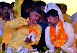 Hyderabad: Andhra Pradesh Chief Minister and TDP chief N. Chandrababu Naidu during `Mahanadu'-2015 `- party's annual party conference in Hyderabad, on May 27, 2015.