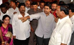 Hyderabad: Nara Lokesh son of Andhra Pradesh Chief Minister N. Chandrababu Naidu inpecting the arrangement of upcoming TDP`s annual 3-day Mahanadu conclave to be held at Gandipet in Hyderabad on May ...