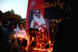 ISLAMABAD, Dec. 27, 2016 - Supporters of the Pakistan People's Party (PPP) attend a ceremony to mark the 9th death anniversary of former Pakistan's prime minister Benazir Bhutto in Islamabad, capital ...