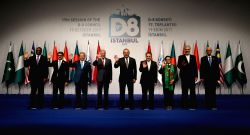 ISTANBUL, Oct. 19, 2017 - Top envoys pose for a family photo during the 17th session of D-8 Council of Foreign Ministers in Istanbul, Turkey, on Oct. 19, 2017. Top envoys from the Developing 8 ...