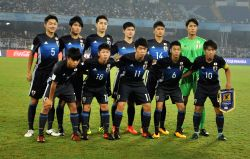Japanese players during a Round of 16 match of FIFA U-17 World Cup 2017 between England and Japan at Salt Lake Stadium in Kolkata on Oct 17, 2017.