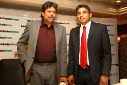 Kapil Dev and Ajay Jadeja at the Hindustan Times Leadership Summit,in New Delhi (Photo:IANS/Amlan)