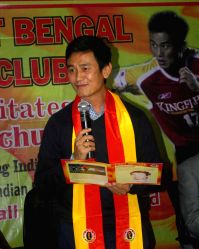 Kolkata: Bhaichung Bhutia being felicitated by East Bengal F C
