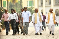 Kolkata: Leader of Opposition in West Bengal Legislative Assembly and CPI (M) leader Suryakanta Misra and others come out after meeting West Bengal Governor Keshari Nath Tripathi  at Raj Bhavan in ...
