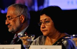 SBI chairman Arundhati Bhattacharya during a programme organised to announce SBI financial results for the period 2014-15 in Kolkata, on May 22, 2215.