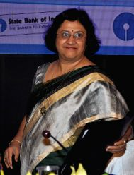 Kolkata: SBI chairman Arundhati Bhattacharya during a programme organised to announce SBI financial results for the period 2014-15 in Kolkata, on May 22, 2215.