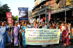 Kolkata: The members of CPI(M) women wing stage a demonstration against the recent gang-rape of a nun in Ranaghat of West Bengal`s Nadia district, in Kolkata on March 18, 2015.