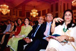 ( L to R ) Anjali Tendulkar, Adi Godrej, Chairman, Godrej Group, Dilip De with his wife and Indian author Shobhaa De during the 42nd anniversary of Giants International award ceremony held in Mumbai,