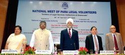 (L to R) Chief Justice of Delhi High Court, Justice Gita Mittal, Union Law Minister Ravi Shankar Prasad, Chief Justice of India Justice Jagdish Singh Khehar, Justice Deepak Mishra and ...