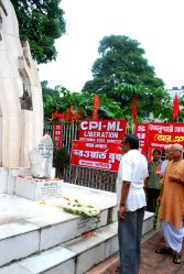 Leader of opposition in West Bengal legislative assembly and CPI(M) state secretary Surjya Kanta Mishra pays tribute to martyrs on Shahid Divas in Kolkata, on Aug 31, 2015.