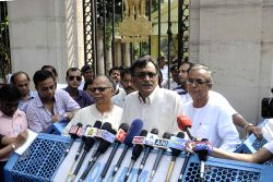 Leader of Opposition in West Bengal Legislative Assembly and CPI (M) leader Suryakanta Misra addresses press after meeting West Bengal Governor Keshari Nath Tripathi in Kolkata, on Oct 5, ...