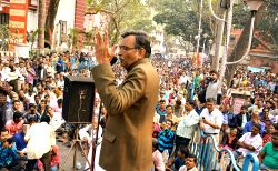 Leader of Opposition in West Bengal Legislative Assembly and CPI-M state secretary Suryakanta Misra addresses a rally against the state government in Alipur, Kolkata on Jan 28, 2016.