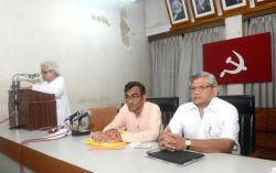 Left Front Chairman Biman Bose, West Bengal CPI-M Secretary Surya Kanta Mishra and General Secretary Sitaram Yechury during a party meeting in Kolkata, on June 22, 2015.