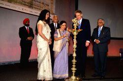 London: External Affairs Minister Sushma Swaraj inaugurating the Regional Pravasi Bharatiya Divas in London. UK Foreign Secretary Phil Hammond is also seen in the picture.